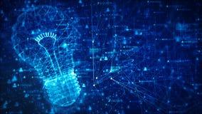 Teknologinätverk med begrepp för idé för digital blå bakgrund för lampa idérikt