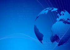 Teknologisk bakgrund för världskarta stock illustrationer