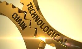 Teknologiskt Chain begrepp Guld- metalliska kuggekugghjul 3d fotografering för bildbyråer