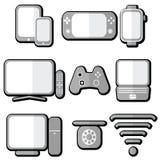 Teknologisymboler ställde in med minnestavlan, mobiltelefonen, den smarta klockan, lekkonsolen, smart tv, spelarestyrspaken för d Royaltyfria Bilder