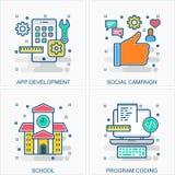 Teknologisymbols- och begreppsillustrationer royaltyfri illustrationer