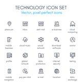 Teknologitemalinje symbolsuppsättning Fotografering för Bildbyråer