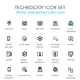 Teknologitemalinje symbolsuppsättning Vektor Illustrationer