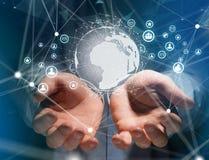 Teknologititeln som omges av apparaten, gillar smartphonen, minnestavla eller Arkivbild