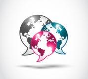Teknologivärlden av anförande bubblar Arkivbilder