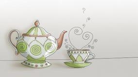 Tekokkärl och kopp - med utrymme för text - digital teckning royaltyfri fotografi