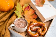 Tekopp med för Autumn Time Bakery Pretzel Toned för varm choklad för kaffe filten för halsduk för handarbete foto royaltyfri bild