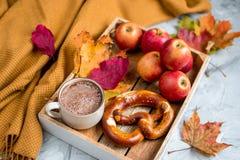 Tekopp med för Autumn Time Bakery Pretzel Toned för varm choklad för kaffe filten för halsduk för handarbete foto royaltyfria foton