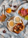 Tekopp med för Autumn Time Bakery Pretzel Toned för varm choklad för kaffe filten för halsduk för handarbete foto royaltyfria bilder