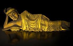 Tekowy drewniany łgarski Buddha. Zdjęcia Royalty Free