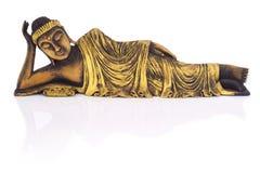 Tekowy drewniany łgarski Buddha. Zdjęcie Royalty Free