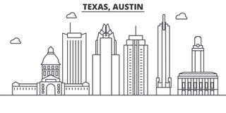 Teksas Austin architektury linii linii horyzontu ilustracja Liniowy wektorowy pejzaż miejski z sławnymi punktami zwrotnymi, miast ilustracji