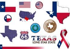 Teksas ikony set Zdjęcia Royalty Free