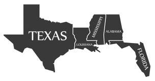 Teksas, Luizjana, Mississippi, Alabama, Floryda mapa przylepiająca etykietkę - - Zdjęcia Royalty Free