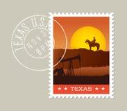 Teksas sceniczny zmierzch za rockową granią royalty ilustracja