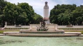Teksas wieży uniwersytetu fontann Obraz Royalty Free