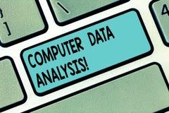 Tekstów dane szyldowa pokazuje Komputerowa analiza Konceptualna fotografia używać komputer pomagać jakościową dane analizy klawia zdjęcia royalty free