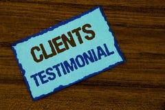 Tekstów szyldowi pokazuje klienci Testimonial Konceptualny fotografia klientów ogłoszenie towarzyskie Doświadcza przegląd opinii  obrazy stock