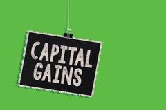 Tekstów szyldowi pokazuje zyski kapitałowi Konceptualna fotografia Spaja część zapasów zysku podatku dochodowego fundusze inwesty fotografia stock