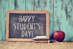 Tekstów uczni szczęśliwy dzień w chalkboard Zdjęcie Stock