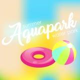 Tekst ` Aquapark ` op een vage achtergrond Stock Afbeelding