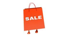 Tekst di camminata di vendita del wtith della borsa, ciclo illustrazione di stock