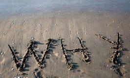 Tekst DLACZEGO na plaży obraz royalty free