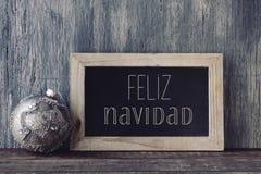 Tekst feliz navidad, vrolijke Kerstmis in het Spaans Stock Foto's
