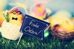 Tekst Frohe Ostern, szczęśliwa wielkanoc w niemiec Obraz Royalty Free