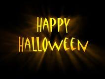 Tekst Gelukkig Halloween met gloeiende stralen van licht Royalty-vrije Stock Foto