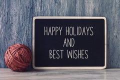 Tekst gelukkige vakantie en beste wensen Royalty-vrije Stock Foto