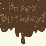 Tekst Gelukkige verjaardag van gebakjeroom Royalty-vrije Stock Foto's