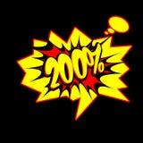 200% Tekst in Grappige boekstijl Stock Afbeelding