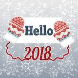 Tekst Hello 2018 op de winterachtergrond met vuisthandschoenen Royalty-vrije Stock Foto's
