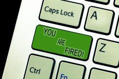 Tekst het teken die u in brand gestoken tonen wordt Conceptuele foto die van de baan weggaan en geworden werkloos de carrière nie stock foto