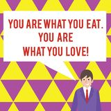 Tekst het teken die u is tonen Wat u u bent eet van Wat u houdt Conceptueel fotobegin om gezond voedsel te eten stock illustratie