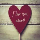 Tekst I houdt van u mamma stock afbeelding