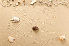 Tekst i symbole w piasku Obraz Royalty Free