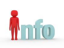 Tekst info met 3d menselijk karakter Royalty-vrije Stock Foto