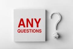 Tekst Jakaś znak zapytania i pytania Obraz Stock