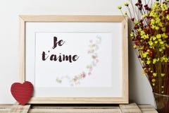 Tekst je t aime, houd ik van u in het Frans Stock Foto