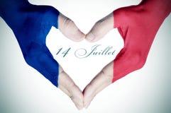 Tekst 14 juillet, veertiende van Juli in Frans, de Nationale Dag van Fra Stock Foto