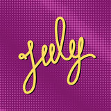 Tekst Juli op Purper Pop Art Background Royalty-vrije Stock Foto's
