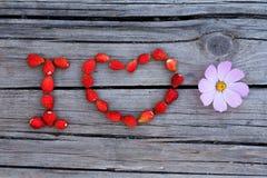 Tekst kocham kwiatu na drewnianym tle Zdjęcie Stock