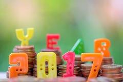 2017 tekst liczba z monetami Zdjęcie Royalty Free