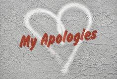Tekst Mój przeprosiny obraz stock