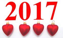 Tekst 2017 met Kerstboomdecoratie Royalty-vrije Stock Afbeeldingen
