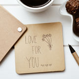 Tekst miłość dla ciebie w notatce Obrazy Stock
