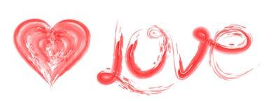 Tekst miłość i serce dla walentynki ` s ślubów lub dnia Zdjęcie Stock
