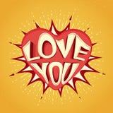 Tekst miłość Ty z sercem dla walentynki ` s dnia Zdjęcia Stock